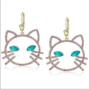 Betsey Johnson Crystals cat pink drop earrings NWT